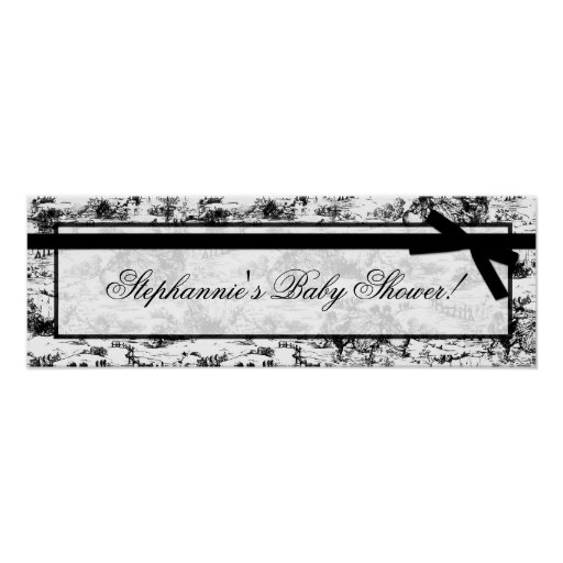 "22.5""x7.5"" Personalised Banner Black White Toile Poster"