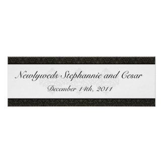 """22.5""""x7.5"""" Personalized Banner Black and Gray Dama Poster"""