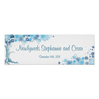 """22.5""""x7.5"""" Personalized Banner Blue Tree / Snowfla Poster"""