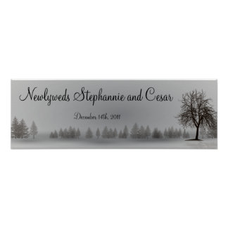 "22.5""x7.5"" Personalized Banner Gray Winter Trees Poster"