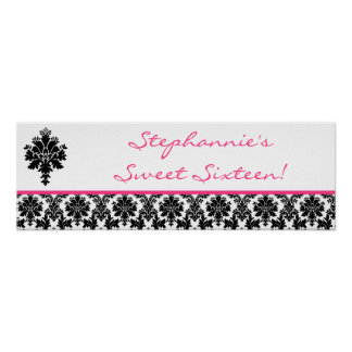 "22.5""x7.5"" Personalized Banner Hot Pink Damask Poster"