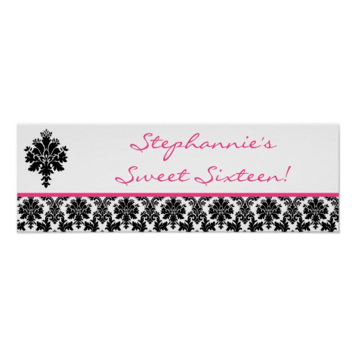 """22.5""""x7.5"""" Personalized Banner Hot Pink Damask Poster"""