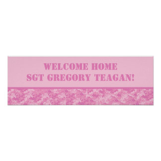 "22.5""x7.5"" Personalized Banner Pink ARMY ACU Camo Poster"
