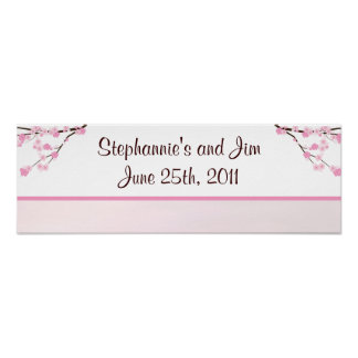 """22.5""""x7.5"""" Personalized Banner Pink Cherry Blossom Poster"""