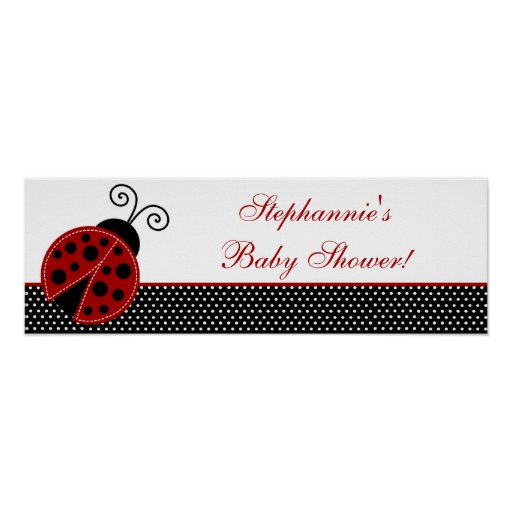 """22.5""""x7.5"""" Personalized Banner Red Ladybug Print"""