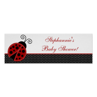 22 5 x7 5 Personalized Banner Red Ladybug Print