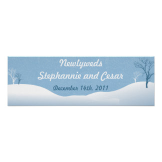 """22.5""""x7.5"""" Personalized Banner Winter Blue Christm Posters"""
