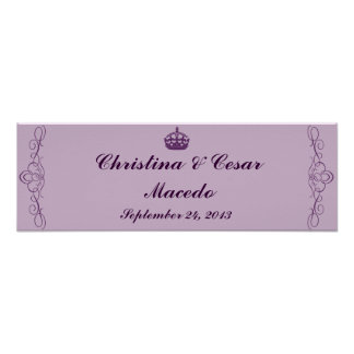 "22.5""x7.5"" Personalized Royal Purple Crown/Swirls Poster"