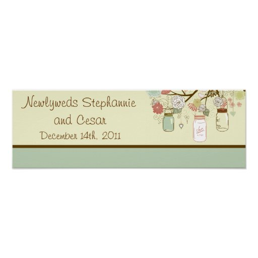 """22.5""""x7.5"""" Personalized Spring Floral Mason Jars Posters"""