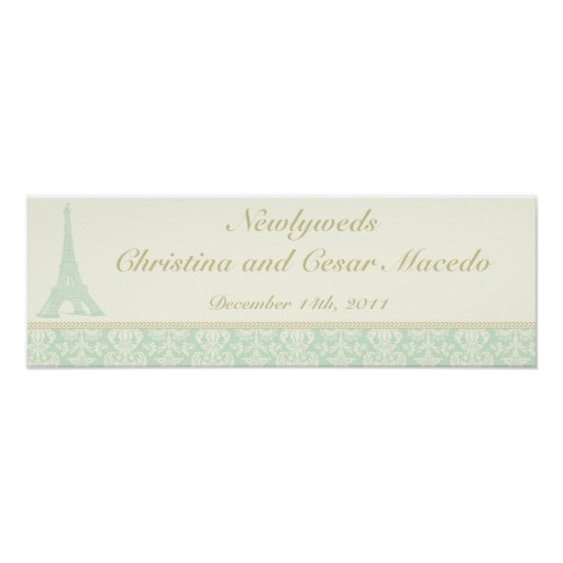 """22.5""""x 7.5"""" Personalized Banner Damask Paris Posters"""