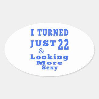 22 birthday designs oval sticker