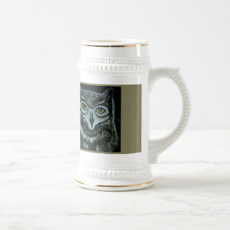 22 ounce custom stein with hand painted owl