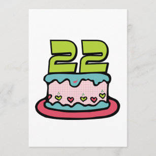 22 Year Old Birthday Cake Card