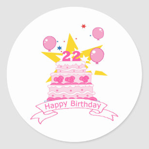 22 Year Old Birthday Cake Classic Round Sticker