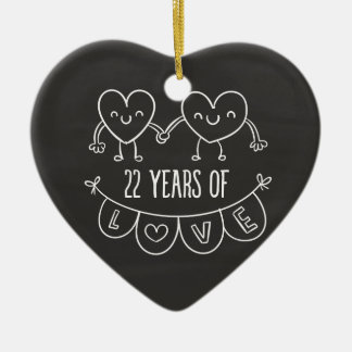 22nd Anniversary Gift Chalk Hearts Ceramic Ornament