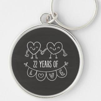 22nd Anniversary Gift Chalk Hearts Key Ring