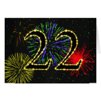 22nd Birthday card with fireworks