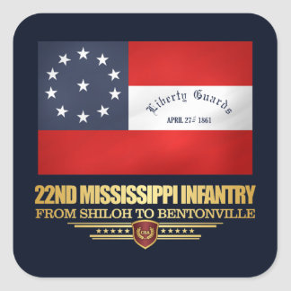 22nd Mississippi Infantry Square Sticker