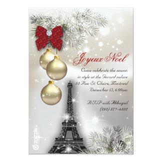 232 Christmas Paris Card Eiffel Tower Snow 13 Cm X 18 Cm Invitation Card