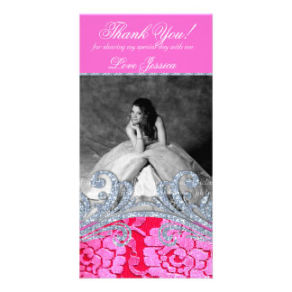 232 Quinceanera Sweet Sixteen Floral Lace Glitter Customised Photo Card