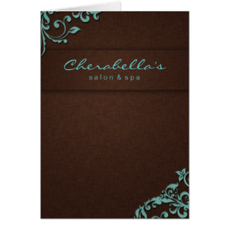 232 Spa Salon Brochure Blue Brown Linen Floral 2 Card