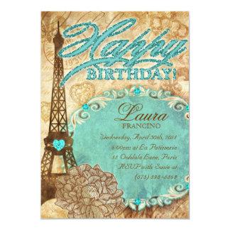 232 Sweet 16 Paris Eiffel Tower Vintage Flower Blu Card