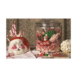 2345 Santa Vase & Candy Canes Christmas Canvas Print