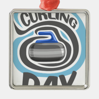 23rd February - Curling Is Cool Day Metal Ornament