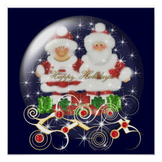 23x23 Poster Snowglobe Mr & Mrs Santa Christmas