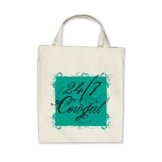 24 7 Cowgirl Organic Grocery Tote Tote Bag