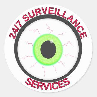 24/7 Surveillance Services Round Sticker