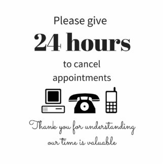 24 hour cancellation policy standing photo sculpture