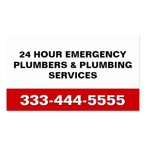 24 HOUR EMERGENCY PLUMBERS & PLUMBING SERVICES BUSINESS CARD