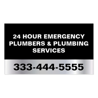 24 HOUR EMERGENCY PLUMBERS & PLUMBING SERVICES BUSINESS CARD TEMPLATES