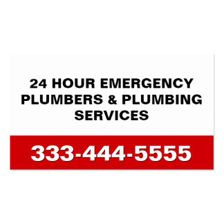 24 HOUR EMERGENCY PLUMBERS & PLUMBING SERVICES PACK OF STANDARD BUSINESS CARDS