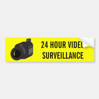 24 HOUR VIDEO SURVEILLANCE CAMERA BUMPER STICKER