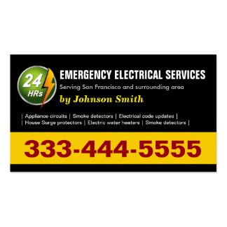 24 Hours Emergency Electrical Service - Two Sided Pack Of Standard Business Cards