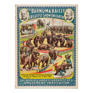 24 Monster and Baby Performing Elephants Poster
