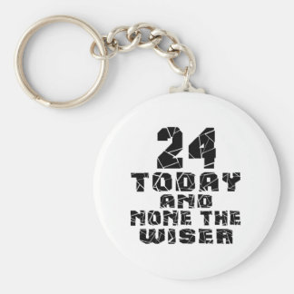 24 Today And None The Wiser Basic Round Button Key Ring