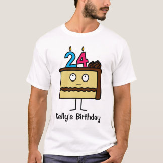24th Birthday Cake with Candles T-Shirt