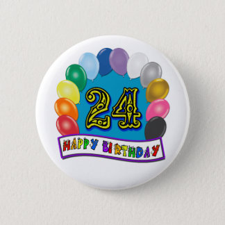 24th Birthday Gifts with Assorted Balloons Design 6 Cm Round Badge