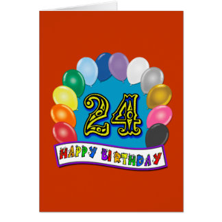 24th Birthday Gifts with Assorted Balloons Design Card