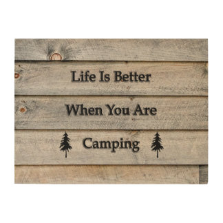 24x18 Life is better when you are camping Wood Wall Art