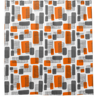 251215 - Orange and Grey Shower Curtain