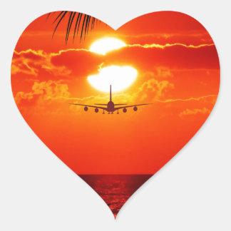 251 TROPICAL VACATION AIRPLANE FLIGHTS REDS ORANGE HEART STICKER
