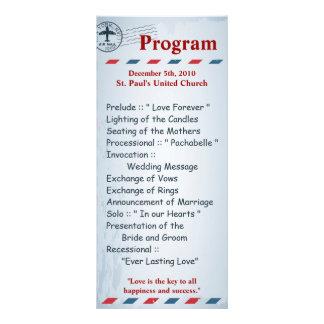 25 4x9 Wedding Program Air Mail Plane USPS Postal Custom Rack Cards
