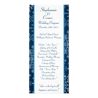 25 4x9 Wedding Program Blue Star and Snowflakes Full Color Rack Card