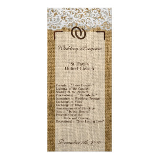 25 4x9 Wedding Program Horse Shoes on Burlap Lace Rack Card