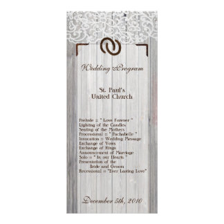 25 4x9 Wedding Program Horse Shoes on Wood Lace Customized Rack Card