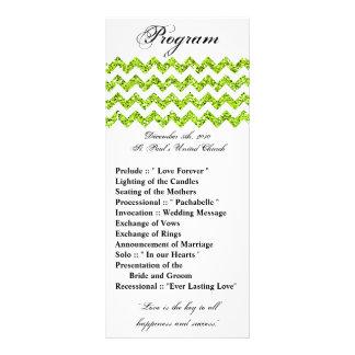 25 4x9 Wedding Program Lime Glitter Chevron Zig 10 Cm X 23 Cm Rack Card